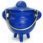 Blue Cast Iron Mini Cauldron with Lid