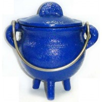 Blue Cast Iron Mini Cauldron with Lid