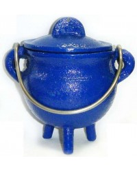Blue Cast Iron Mini Cauldron with Lid All Wicca Store Magickal Supplies Wiccan Supplies, Wicca Books, Pagan Jewelry, Altar Statues