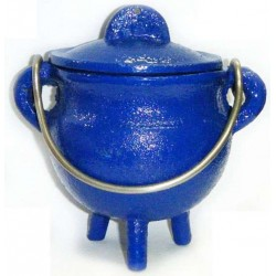 Blue Cast Iron Mini Cauldron with Lid All Wicca Supply Shop Wiccan Supplies, All Wicca Books, Pagan Jewelry, Wiccan Altar Statues