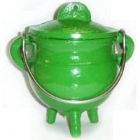 Green Cast Iron Mini Cauldron with Lid