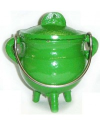 Green Cast Iron Mini Cauldron with Lid All Wicca Store Magickal Supplies Wiccan Supplies, Wicca Books, Pagan Jewelry, Altar Statues