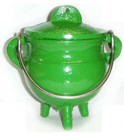 Green Cast Iron Mini Cauldron with Lid at All Wicca Magickal Supplies, Wiccan Supplies, Wicca Books, Pagan Jewelry, Altar Statues