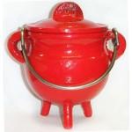 Red Cast Iron Mini Cauldron with Lid