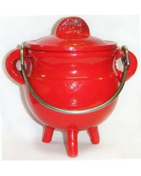 Red Cast Iron Mini Cauldron with Lid