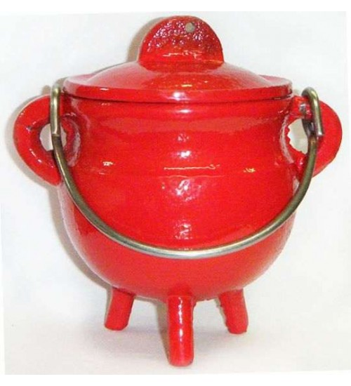 Red Cast Iron Mini Cauldron with Lid at All Wicca Magickal Supplies, Wiccan Supplies, Wicca Books, Pagan Jewelry, Altar Statues