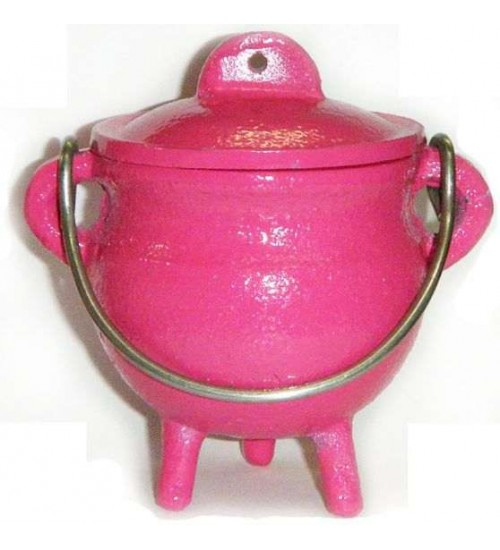 Pink Cast Iron Mini Cauldron with Lid at All Wicca Store Magickal Supplies, Wiccan Supplies, Wicca Books, Pagan Jewelry, Altar Statues