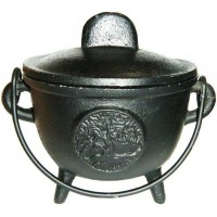 Tree of Life Cast Iron 4.5 Inch Witches Cauldron
