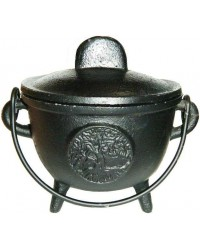 Tree of Life Cast Iron 4.5 Inch Witches Cauldron All Wicca Supply Shop Wiccan Supplies, All Wicca Books, Pagan Jewelry, Wiccan Altar Statues