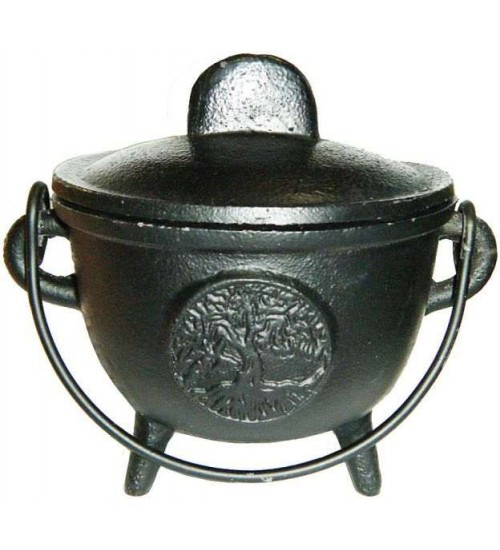 Tree of Life Cast Iron 4.5 Inch Witches Cauldron at All Wicca Store Magickal Supplies, Wiccan Supplies, Wicca Books, Pagan Jewelry, Altar Statues