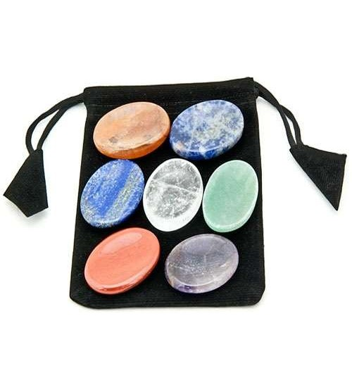 7 Chakra Worry Stone Set in Velvet Pouch at All Wicca Store Magickal Supplies, Wiccan Supplies, Wicca Books, Pagan Jewelry, Altar Statues