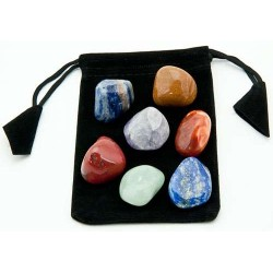7 Chakra Tumbled Stone Set in Velvet Pouch All Wicca Wiccan Altar Supplies, All Wicca Books, Pagan Jewelry, Wiccan Statues