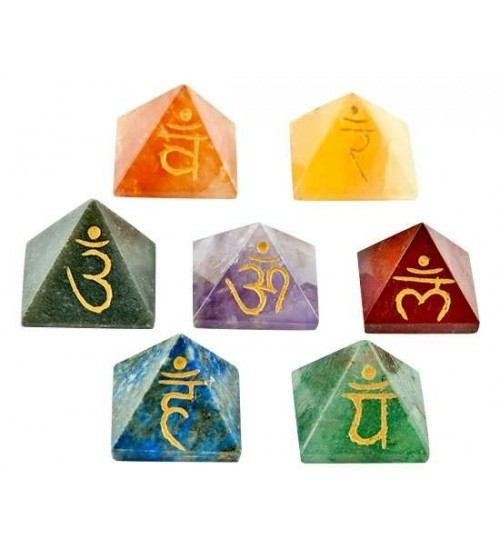 7 Chakra Gemstone Pyramid Set at All Wicca Magickal Supplies, Wiccan Supplies, Wicca Books, Pagan Jewelry, Altar Statues