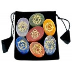 7 Carved Chakra Worry Stones in Velvet Pouch