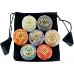 7 Carved Chakra Gem Stones in Velvet Pouch