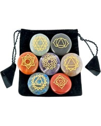 7 Carved Chakra Gem Stones in Velvet Pouch All Wicca Magickal Supplies Wiccan Supplies, Wicca Books, Pagan Jewelry, Altar Statues