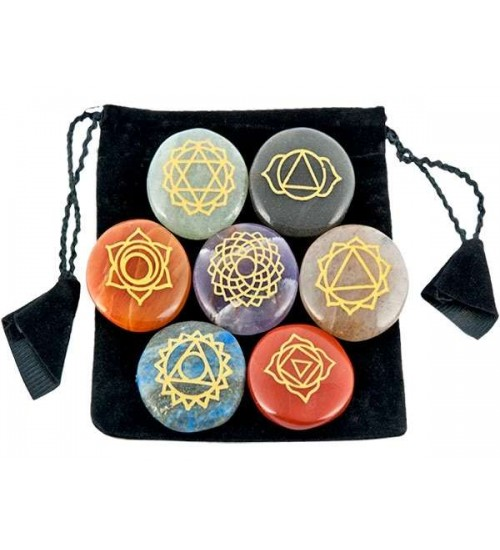 7 Carved Chakra Gem Stones in Velvet Pouch at All Wicca Store Magickal Supplies, Wiccan Supplies, Wicca Books, Pagan Jewelry, Altar Statues