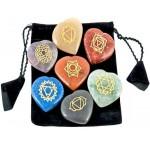 7 Heart Chakra Gem Stones in Velvet Pouch