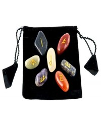 7 Chakra Rune Tumbled Stone Set in Velvet Pouch All Wicca Supply Shop Wiccan Supplies, All Wicca Books, Pagan Jewelry, Wiccan Altar Statues