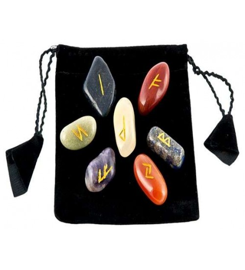 7 Chakra Rune Tumbled Stone Set in Velvet Pouch at All Wicca Store Magickal Supplies, Wiccan Supplies, Wicca Books, Pagan Jewelry, Altar Statues