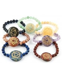7 Carved Chakra Gemstone Bracelets All Wicca Magickal Supplies Wiccan Supplies, Wicca Books, Pagan Jewelry, Altar Statues