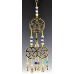 Triple Pentacle Brass Chime with Beads