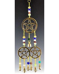 Triple Pentacle Brass Chime with Beads All Wicca Magickal Supplies Wiccan Supplies, Wicca Books, Pagan Jewelry, Altar Statues