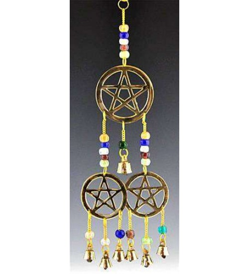 Triple Pentacle Brass Chime with Beads at All Wicca Store Magickal Supplies, Wiccan Supplies, Wicca Books, Pagan Jewelry, Altar Statues