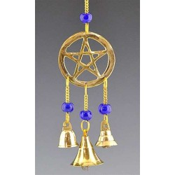 Pentacle Brass Chime with Beads All Wicca Wiccan Altar Supplies, All Wicca Books, Pagan Jewelry, Wiccan Statues