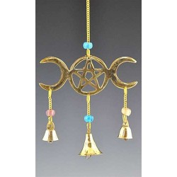 Triple Moon Brass Chime All Wicca Wiccan Altar Supplies, All Wicca Books, Pagan Jewelry, Wiccan Statues