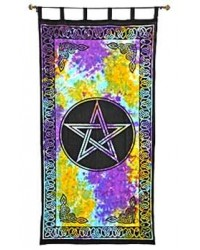 Pentacle Tie Die Curtain All Wicca Magickal Supplies Wiccan Supplies, Wicca Books, Pagan Jewelry, Altar Statues