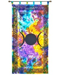 Triple Moon Tie Die Curtain All Wicca Store Magickal Supplies Wiccan Supplies, Wicca Books, Pagan Jewelry, Altar Statues