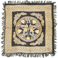 Goddess Pentacle Black and Gold Altar Cloth