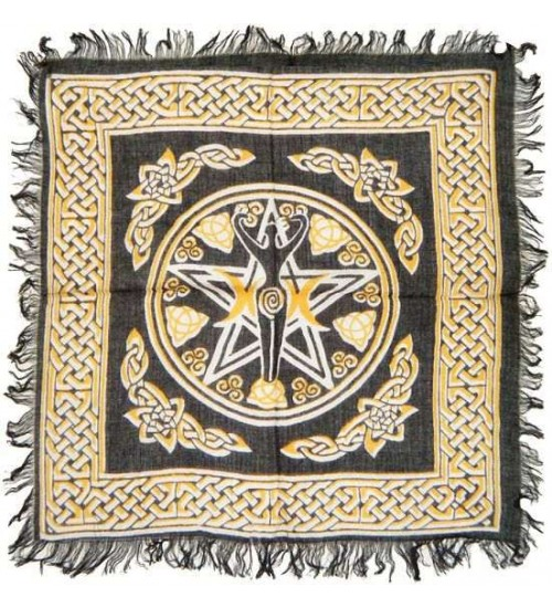 Goddess Pentacle Black and Gold Altar Cloth at All Wicca Store Magickal Supplies, Wiccan Supplies, Wicca Books, Pagan Jewelry, Altar Statues