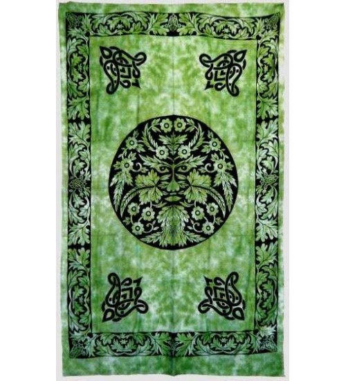 Green Man Green Cotton Full Size Tapestry at All Wicca Store Magickal Supplies, Wiccan Supplies, Wicca Books, Pagan Jewelry, Altar Statues