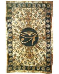 Egyptian Eye of Horus Bedspread - Brown All Wicca Store Magickal Supplies Wiccan Supplies, Wicca Books, Pagan Jewelry, Altar Statues