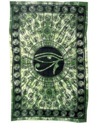 Egyptian Eye of Horus Bedspread - Green All Wicca Magical Supplies Wiccan Supplies, Wicca Books, Pagan Jewelry, Altar Statues