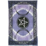 Pentagram Triple Moon Purple Cotton Full Size Tapestry