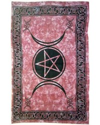 Pentagram Triple Moon Red Cotton Full Size Tapestry All Wicca Store Magickal Supplies Wiccan Supplies, Wicca Books, Pagan Jewelry, Altar Statues