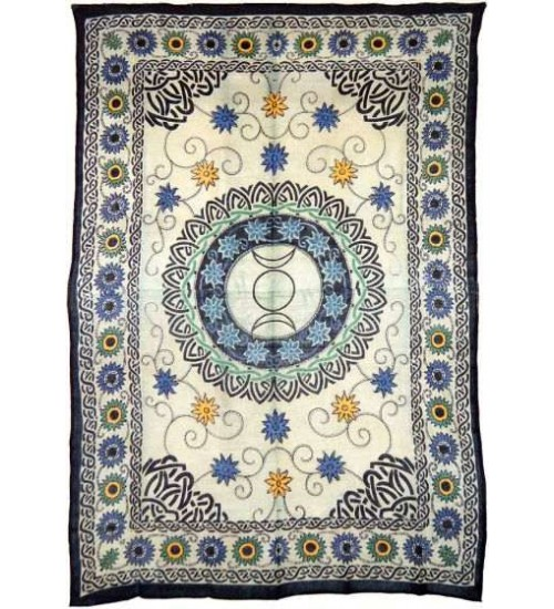 Floral Triple Moon Cotton Full Size Tapestry