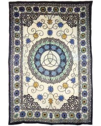 Floral Triquetra Charmed Cotton Full Size Tapestry All Wicca Store Magickal Supplies Wiccan Supplies, Wicca Books, Pagan Jewelry, Altar Statues