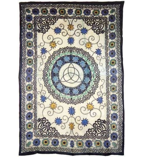 Floral Triquetra Charmed Cotton Full Size Tapestry at All Wicca Magickal Supplies, Wiccan Supplies, Wicca Books, Pagan Jewelry, Altar Statues
