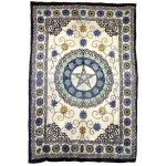 Floral Pentacle Cotton Full Size Tapestry