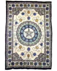 Floral Pentacle Cotton Full Size Tapestry All Wicca Store Magickal Supplies Wiccan Supplies, Wicca Books, Pagan Jewelry, Altar Statues