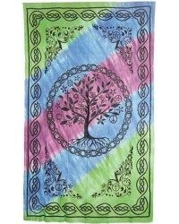 Tree of Life Tie Dye Cotton Full Size Bedspread All Wicca Store Magickal Supplies Wiccan Supplies, Wicca Books, Pagan Jewelry, Altar Statues