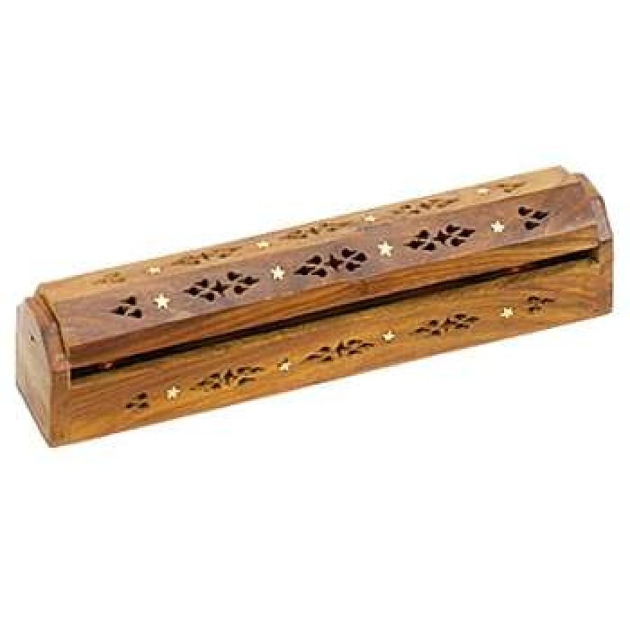 Wood Box Incense Burner With Stars