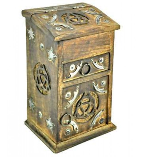 Triquetra Carved Wooden Storage Chest at All Wicca Store Magickal Supplies, Wiccan Supplies, Wicca Books, Pagan Jewelry, Altar Statues