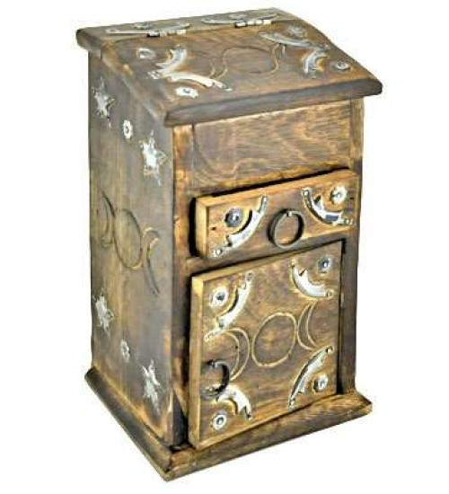 Triple Moon Carved Wooden Herb Chest at All Wicca Store Magickal Supplies, Wiccan Supplies, Wicca Books, Pagan Jewelry, Altar Statues