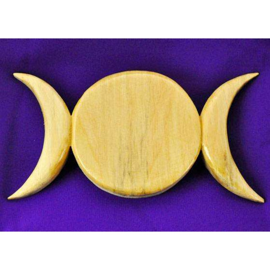 Triple Moon Natural Finish Wood Plaque - Wicca, Triple Goddess ...