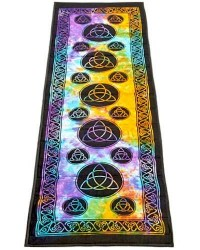 Triquetra Tie Dye Cotton Yoga Mat All Wicca Store Magickal Supplies Wiccan Supplies, Wicca Books, Pagan Jewelry, Altar Statues